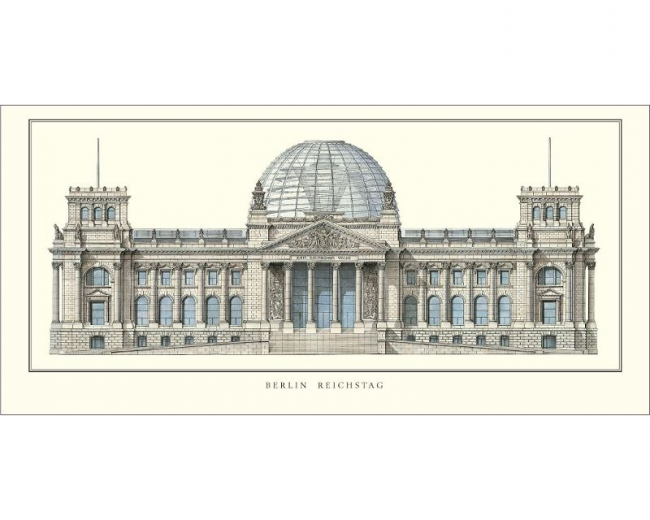 "Poster ""The reconstructed Reichstag Building"", large"